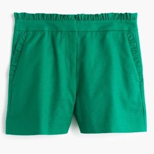 NWOT J. Crew Ruffled Short in Warm Jade (Green)